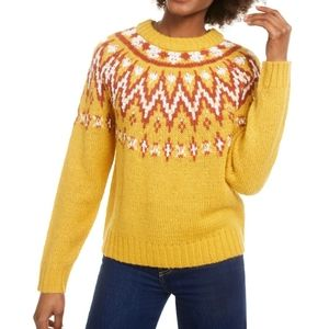 NWT Hooked Up Yellow Patterned Sweater Medium
